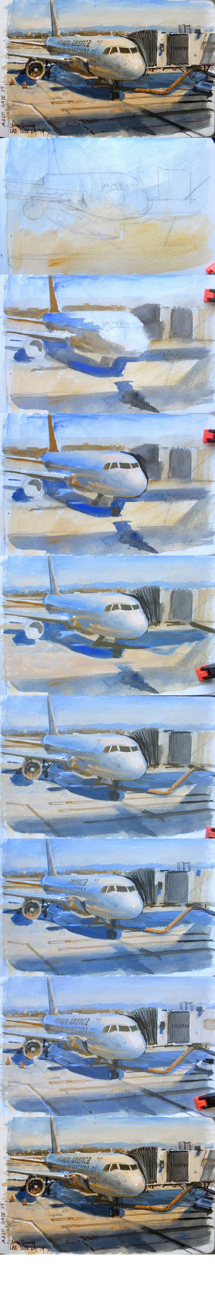 James Gurney LAX, Gate 35. Gouache.