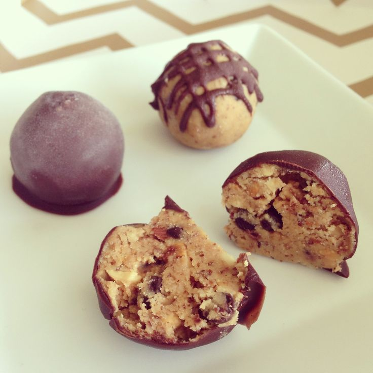 Almond Butter Chocolate Chip Cookie Dough Truffles  #SimplyTaylor