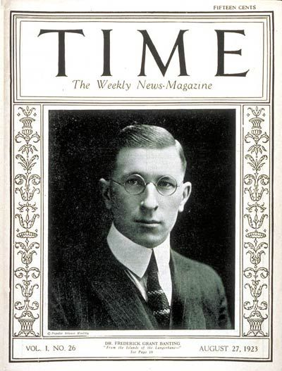 TIME Magazine Cover: Frederick G. Banting -- Aug. 27, 1923, discoverer of insulin
