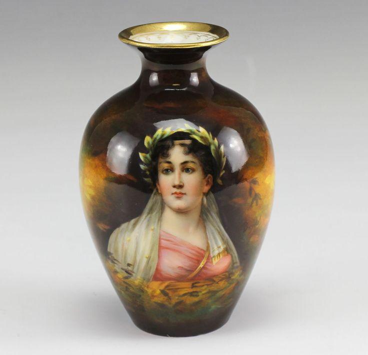 German Art Deco Royal Schwarzburg Hand Painted Porcelain Vase w/ Lady's Portrait.