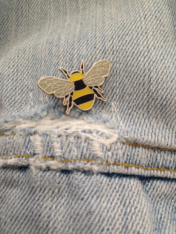 Manchester Worker Bee enamel pin badge in Yellow + Black + Grey Great lapel detail Metal pin badge with push in back to keep it securely in