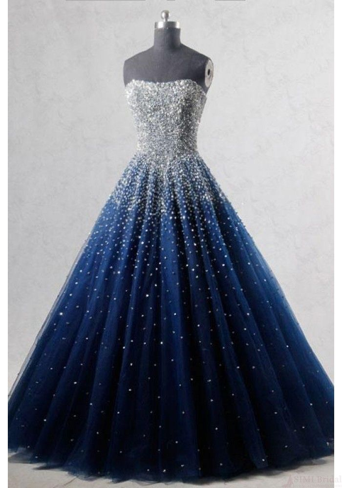 Navy Blue Strapless Floor Length Prom Ball Gown With