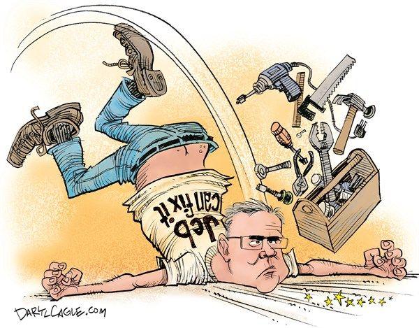 Jeb Can Fix It, Daryl Cagle,CagleCartoons.com,Jeb Bush,Jeb Can Fix It,tools,plumber,crack,polls,president,presidential campaign 2016,governor Florida