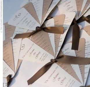 Homemade fans as programs for the wedding...so cute and practical if the wedding and/or reception is outdoors when it's warm!
