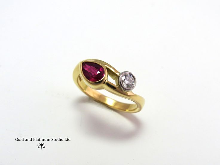 This beautiful ring has just been made in the workshop by Mike. The ruby in it is a stunning colour and is set of wonderfully by the diamond next to it.