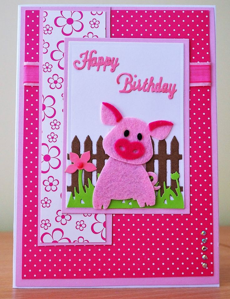 Handmade Birthday Card - Marianne Collectables Pig Die (In Felt). For more of my cards please visit the CraftyCardStudio on Etsy.com.