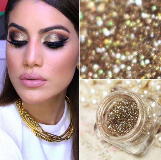 Maquiagem dourada como essa da Camila Coelho nunca sai de moda e vai com tudo. Perfeito para um casamento, formatura e até para um make carnavalesco.