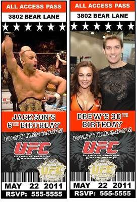 UFC Ultimate Fighting Birthday Party Ticket Invitation | eBay