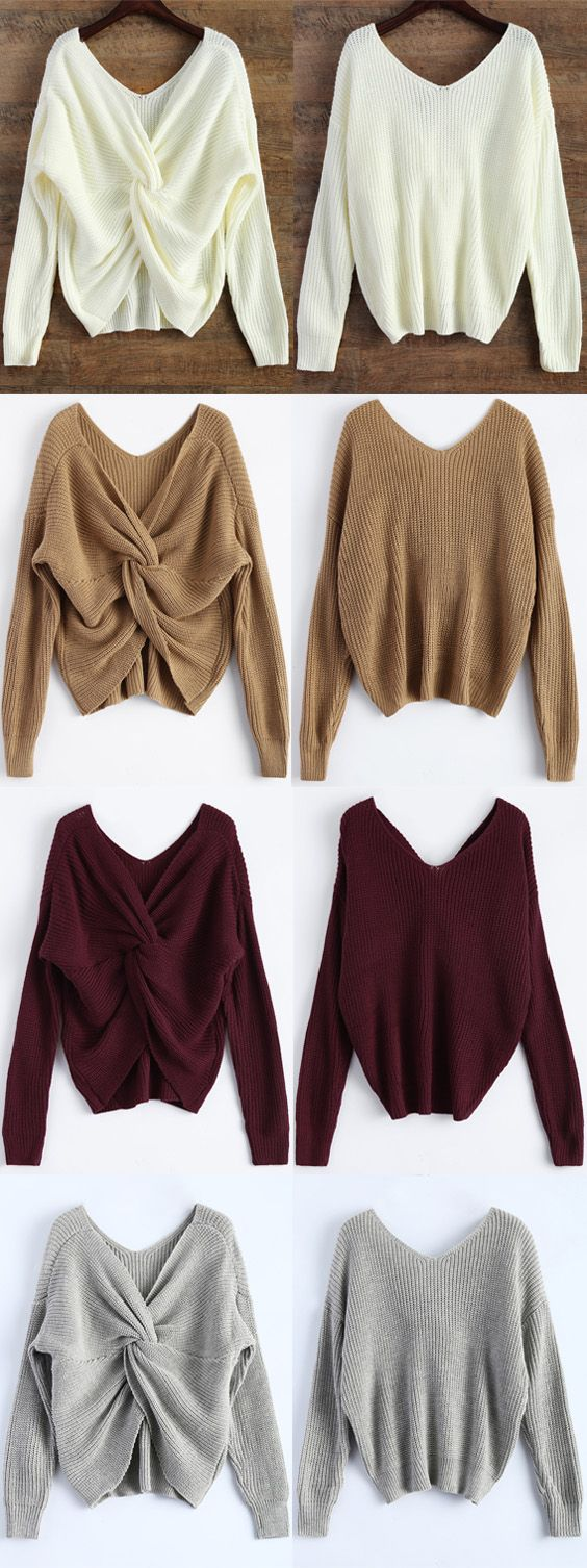 Up to 70% OFF! V Neck Twisted Back Sweater. Zaful,zaful.com,zaful online shopping, sweaters&cardigans, sweater,sweaters,cardigans,choker sweater,chokers,chunky sweater,chunky,cardigans for women, knit, knitted, knitting, knitwear, cardigan, cardigan outfit,women fashion,winter outfits,winter fashion,fall outfits,fall fashion, halloween costumes,halloween,halloween outfits. @zaful Extra 10% OFF Code:ZF2017