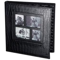 black leather photo album