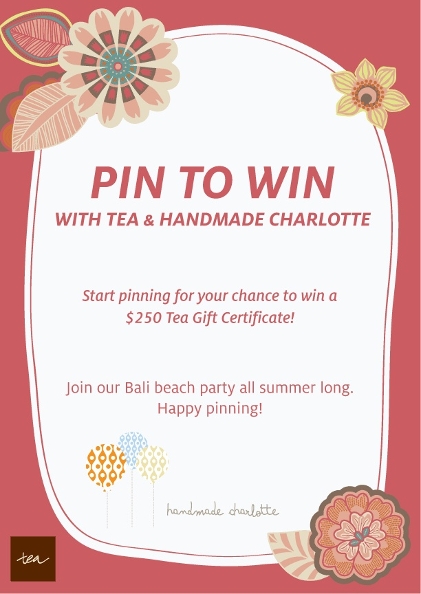 "To enter: 1) Follow @Tea Collection & @handmade charlotte on Pinterest 2) Create a board & label it "" My Perfect Summer Party"" 3) Pin everything you need for your party, including at least 8 items from Tea & 8 items from Handmade Charlotte. 4) Add a brief description in each pin of why you love the item. 5) Share your board with us by posting a link to your board on the official contest pin in the comments section: http://bit.ly/HBxzCo. See our board example: http://bit.ly/HDbSh6 Ends on 4/2..."