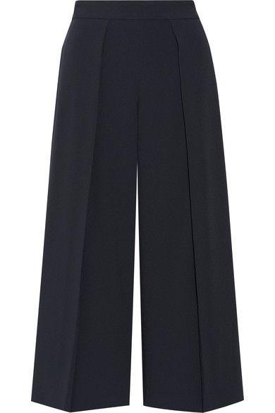 rag & bone - Rowe Cropped Pleated Crepe Wide-leg Pants - Midnight blue - US12