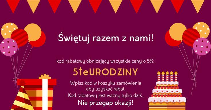 Nasz sklep ma już 5 lat! Z tej okazji przygotowaliśmy dla Ciebie niezłą gratkę! Skorzystaj z rabatu już dziś!  #rabat #promocja #mirjan24 #urodziny #birthday #sale