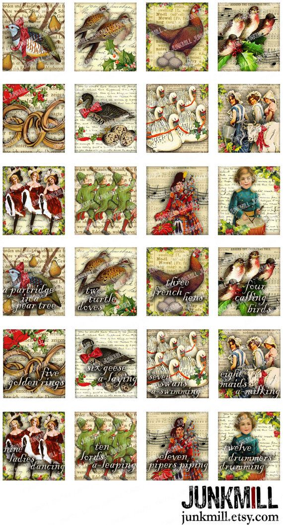12 DAYS of XMAS Digital Printable Collage Sheet by JUNKMILL