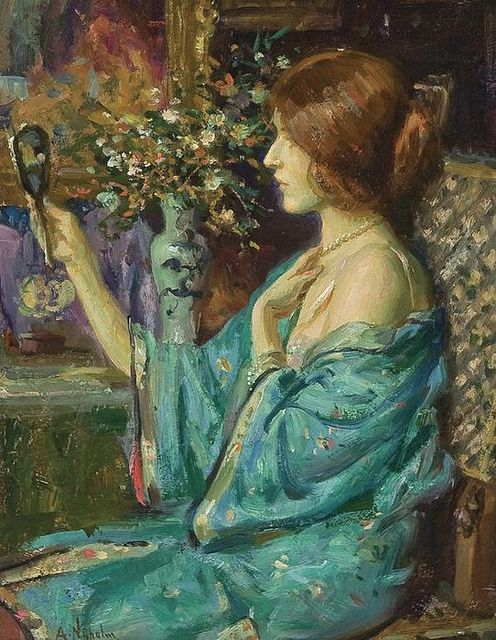Arvid Frederick Nyholm - At Her Vanity (1890s) More Red Haired Love