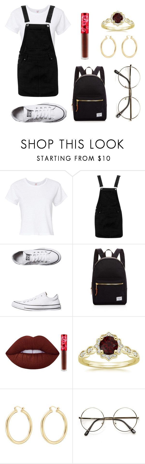 """Untitled #367"" by fashion-with-dudette on Polyvore featuring RE/DONE, Boohoo, Converse, Herschel Supply Co., Lime Crime and Isabel Marant"