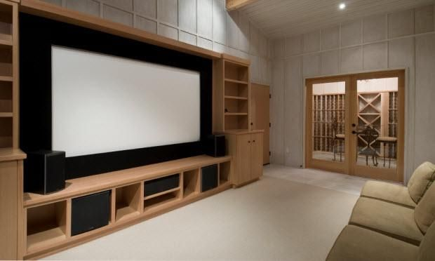 Big screen tv (instead of theater screen) with built ins idea