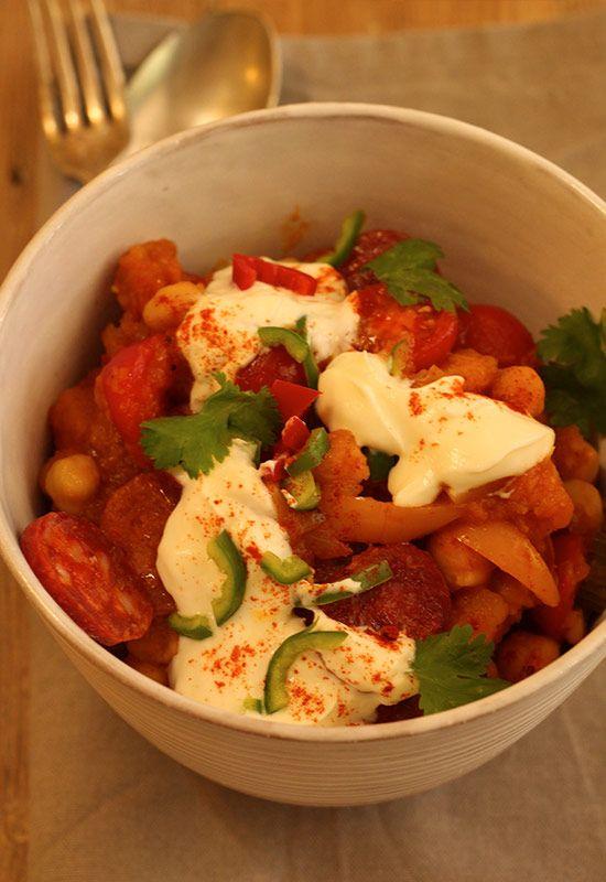 Spicy Butternut, Chickpea & Chorizo Stew