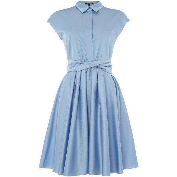 Tara Jarmon Short sleeve shirt dress (£122) ❤ liked on Polyvore featuring dresses, blue, clearance, shirt-dress, short sleeve dress, tara jarmon, cotton shirt dress and long shirt dress