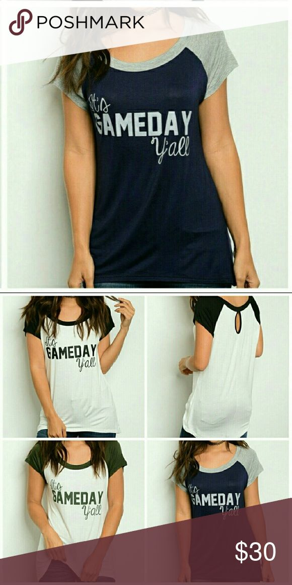 🔷NEW STOCK🔷🏆🏅IT'S GAMEDAY Y'ALL⚽🏀⚾🏈 ⛧This undoubtedly will quickly become your favorite Tee⛧  Baseball style scoopneck with slight high low hem Lightweight soft jersey feels like it's already broken in for you!   96% rayon 4% spandex   Made in USA  Navy body with grey sleeves  HURRY!  Only 1 of each size available Tops Tees - Short Sleeve