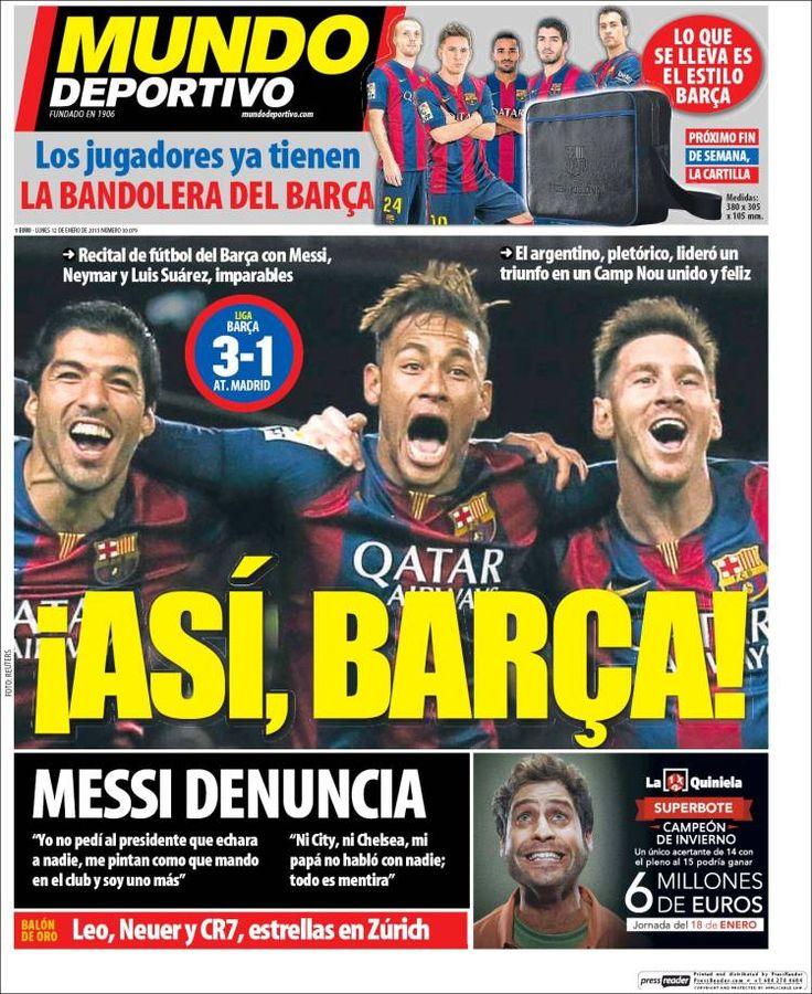 Portada Mundo Deportivo 12/1/2015