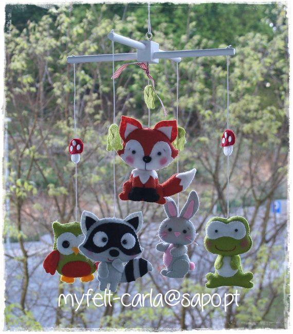 Mobile animaux forêt, Mobile Berceaux, Suspension Mobile, Mobile Suspendre, Mobile Bébé : Jeux, peluches, doudous par myfelt-carla