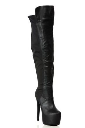 18bc898a5f7 Black Faux Leather Thigh High Platform Boots   Cicihot Boots Catalog women s  winter boots