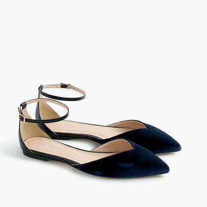 Sadie ankle-strap flats in velvet