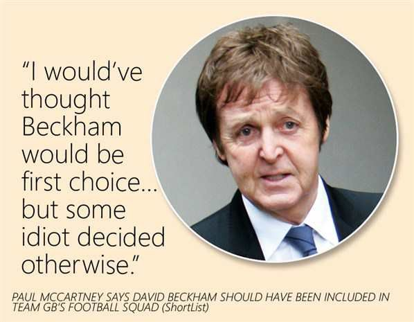 Paul McCartney says David Beckham should have been included in team GB'S Football squad. #Pinterest #thebeatlesquote #www.beatlesfansunite.com
