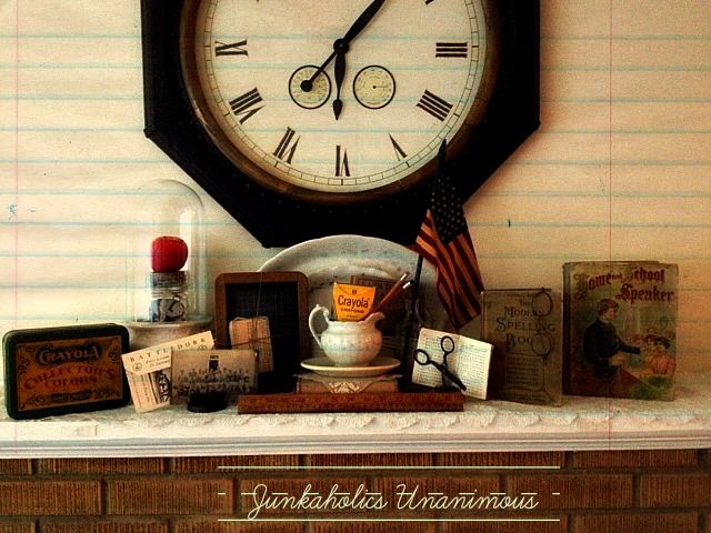 Summer-to-Fall Transitional Decorating: Back To School Mantel Decor