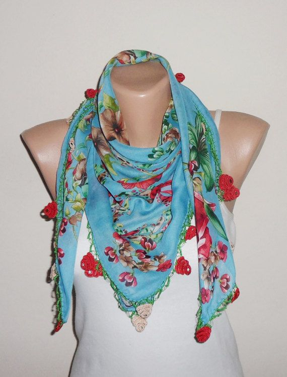 blue scarf red green scarf floral print scarf oya by DamlaScarf