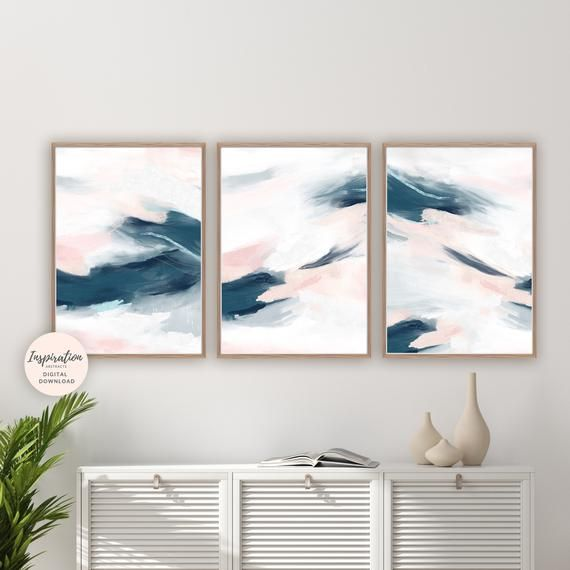 Set Of 3 Pink And Navy Abstract Paintings 3 Piece Wall Art Etsy In 2020 Etsy Wall Art Gallery Wall Set Oversized Wall Art