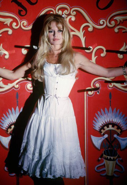 """Brigitte Bardot on the set of """"Viva Maria"""", 1965."""