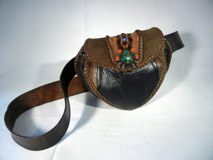 Novelty Hip Leather Bag with Macrame Inlay and Stone. $300.00, via Etsy.
