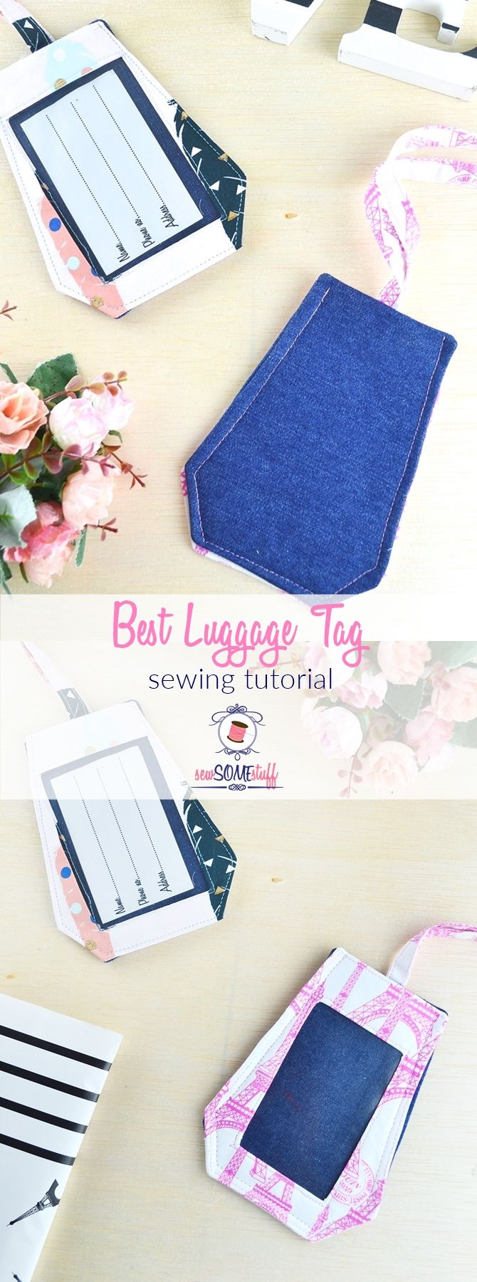 Cute luggage tags tutorial with video | Best fabric luggage tag sewing tutorial | DIY luggage tags |