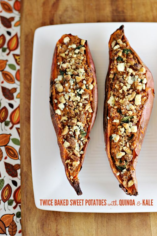Twice Baked Sweet Potatoes with Quinoa and Kale -  great Autumn side dish or vegetarian main dish...stuffed full of flavor!