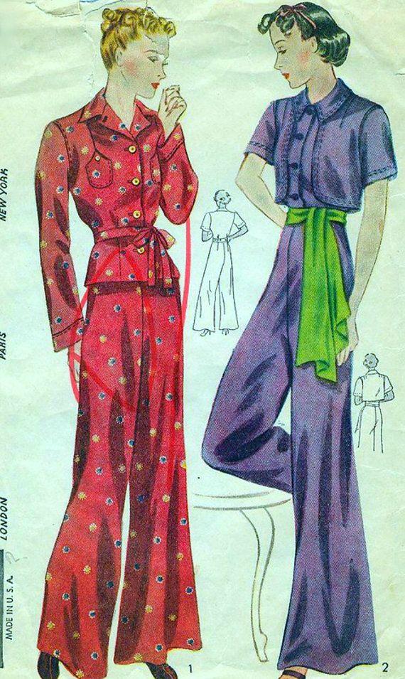 Vintage 1930's Simplicity Pattern 3623 - FABULOUS Two-Piece PYJAMAS and BOLERO - Bust 38 on Etsy, $49.00