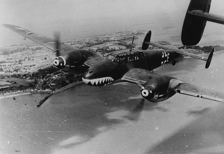 A German twin propelled Messerschmitt BF 110 bomber nicknamed Fliegender Haifisch (Flying Shark) over the English Channel in August of 1940.