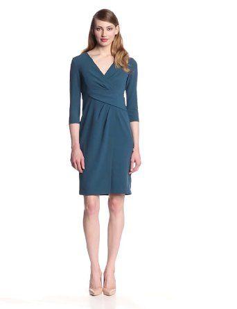 Ivy & Blu Women's Elbow Sleeve Faux Wrap Sheath Dress