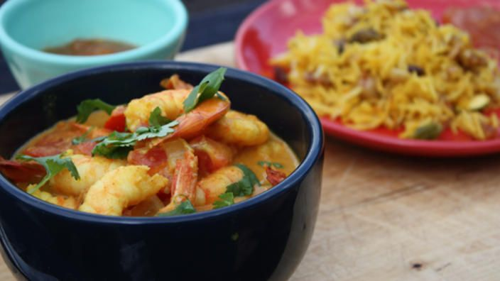 Prawn and coconut curry   Gilbert recommends serving this Anglo-Indian style curry with an aromatic fruit and nut pilau. The addition of tomato and coconut to this recipe balances the more pungent Indian spices, and creates a deliciously smooth and surprisingly simple Goa-inspired seafood curry. To really top it off, serve with mango chutney.