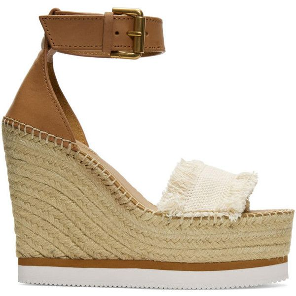 See by Chloé Beige Espadrille Wedge Sandals ($225) ❤ liked on Polyvore featuring shoes, sandals, beige, wedge heel sandals, platform shoes, platform wedge sandals, platform wedge shoes and platform espadrilles