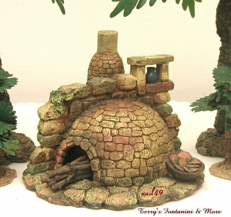 "FONTANINI ITALY 5"" LITED STONE BAKING OVEN 2001 NATIVITY VILLAGE 55511 BOX #Fontanini"