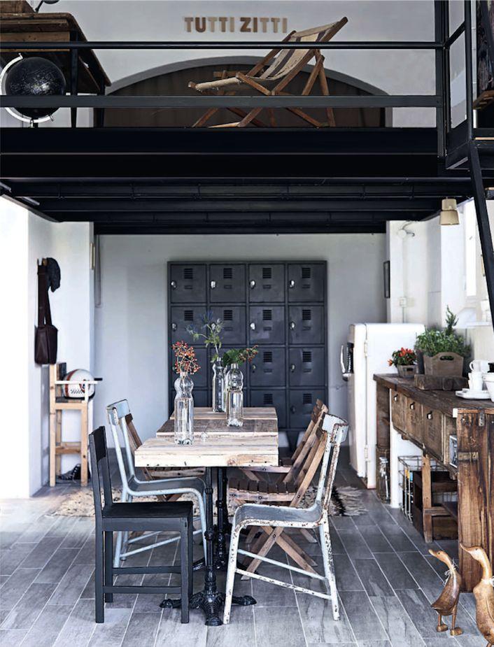Dining room, loft, wood table