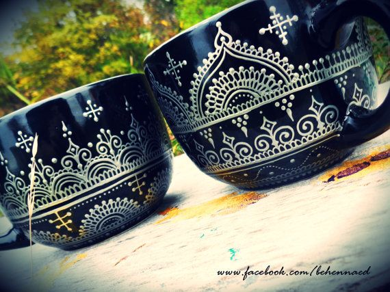 "Hand-Painted Large Black Mugs-Bowls with Silver Metallic Henna Mehndi Designs.  HUGE - 5"" wide and 4"" tall.  Bohemian, gypsy, henna, mehndi, Moroccan, India, black, silver"