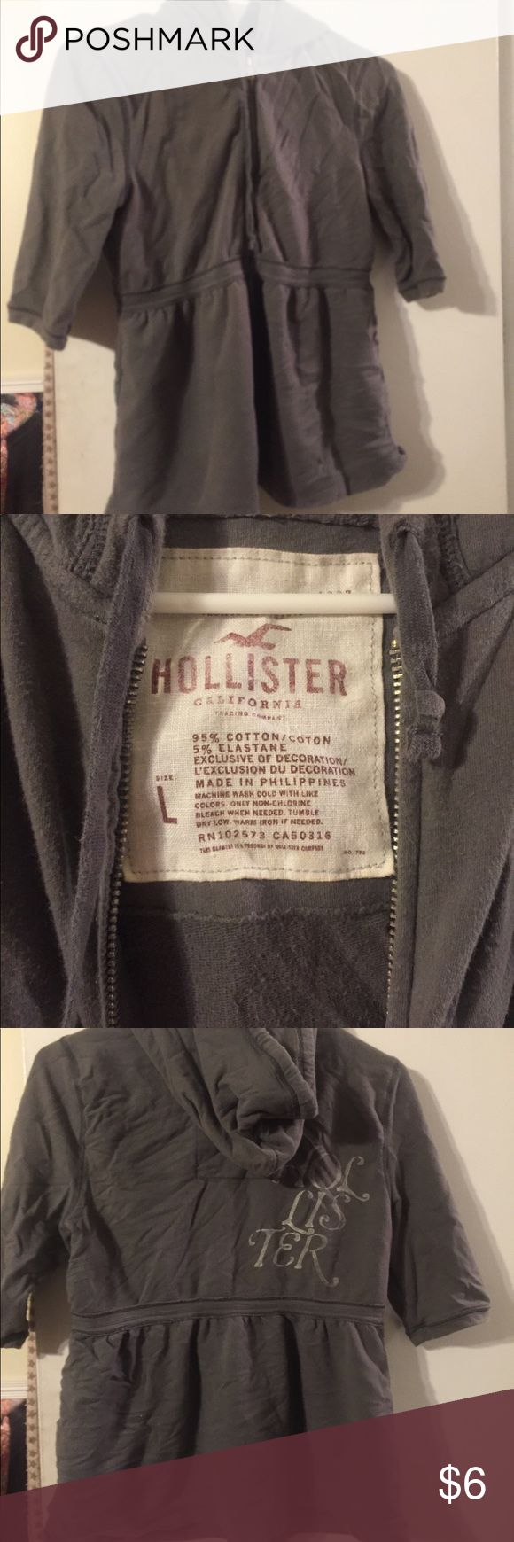 Hollister Jacket Grey short sleeve Hollister hoodie size large. Worn but still in good condition. Hollister Jackets & Coats