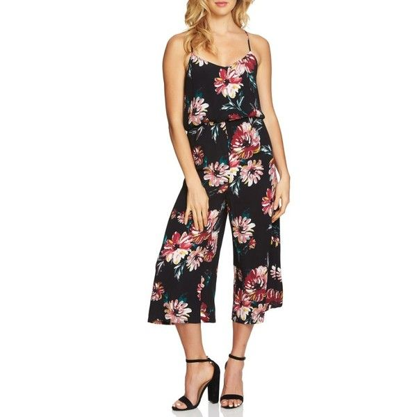 Women's 1.state Floral Print Jumpsuit (€100) ❤ liked on Polyvore featuring jumpsuits, rich black, flower print jumpsuit, floral print jumpsuit, floral jumpsuit and jump suit