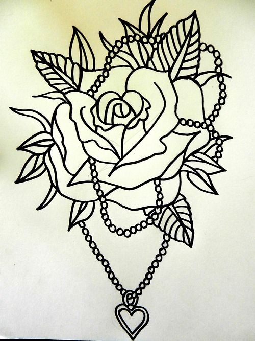 Traditional Tattoo Line Drawing : Traditional rose tattoo flash