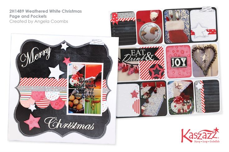 2H1489 Weathered White Christmas Page and Pockets