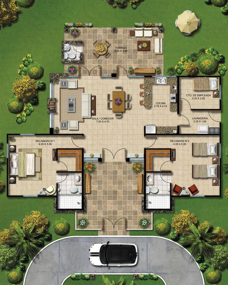 17 mejores ideas sobre planos de casa de estilo rancho en for Modelos de casas de campo de una planta
