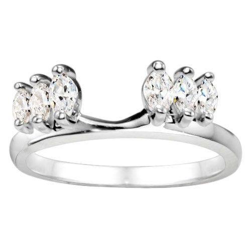Classic Three Stone Enhancer .45ct 14K Gold White Diamond Prong Set Marquise Ring Wrap